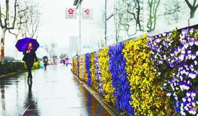 """南京地铁站外墙 穿""""春装"""""""
