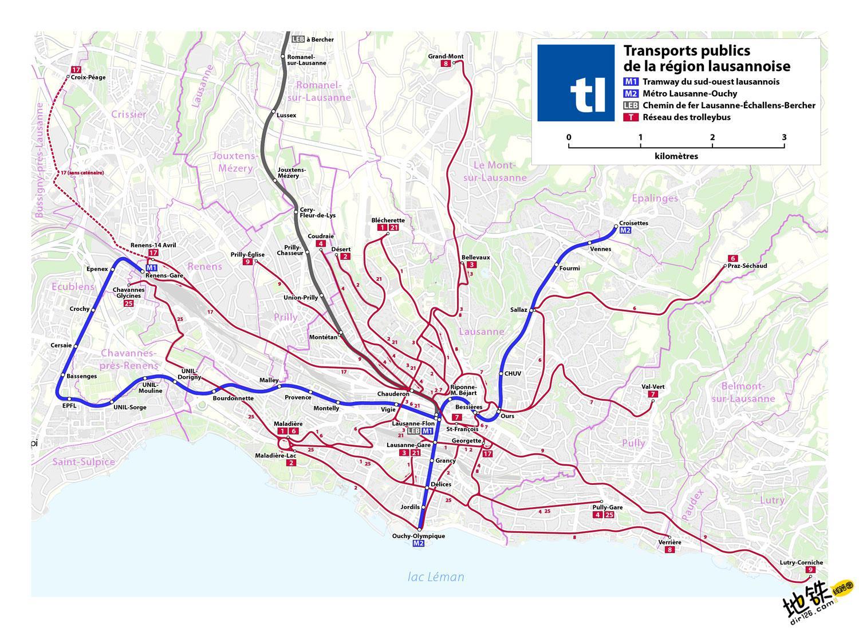 瑞士洛桑地铁线路图 运营时间票价站点 查询下载 洛桑地铁票价查询 洛桑地铁运营时间 洛桑地铁线路图 洛桑地铁 瑞士洛桑地铁 瑞士地铁线路图  第2张