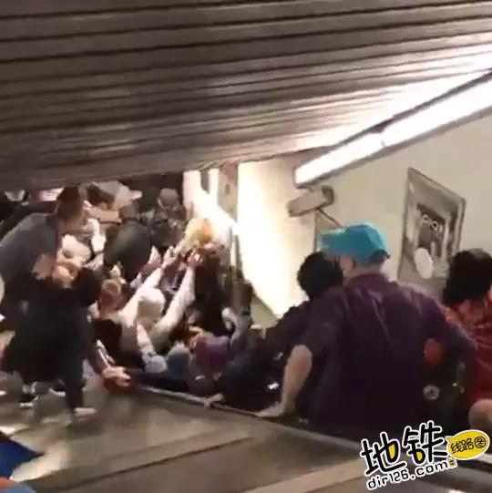 乘梯安全不容忽视 罗马地铁电扶梯遭球迷狂踩坍塌 安全 乘客 电扶梯 球迷 罗马地铁 轨道动态  第1张