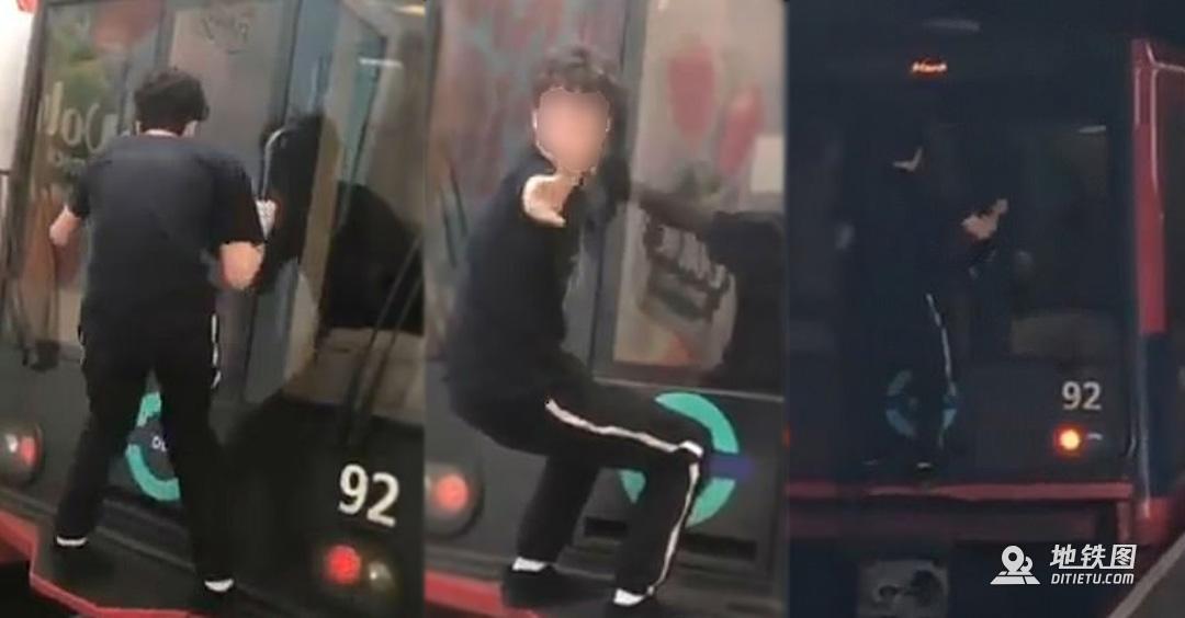 """作死!英国一16岁青少年上演""""地铁冲浪"""""""