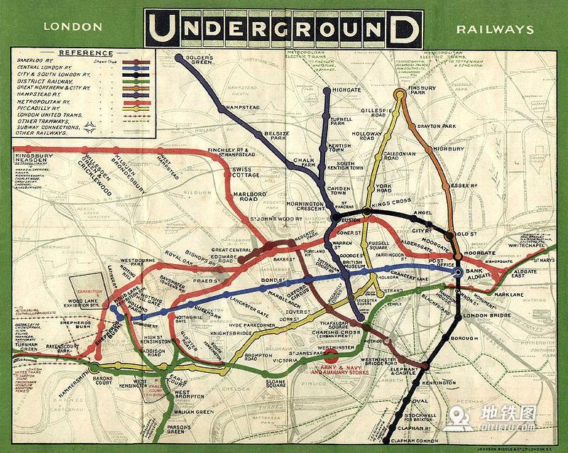 1908年版伦敦地铁线路图
