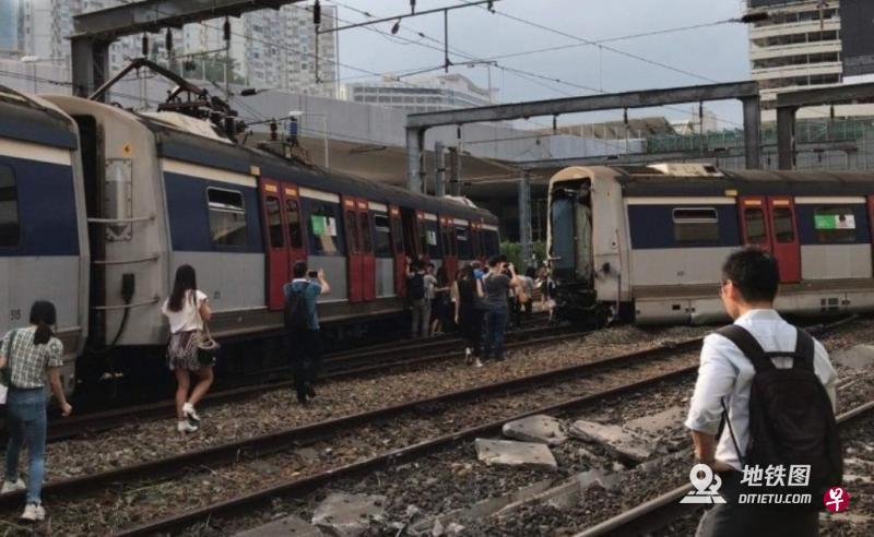 港铁列车红磡站出轨撞向另一列车 有乘客受伤 事故 出轨 红磡站 港铁 轨道动态  第1张