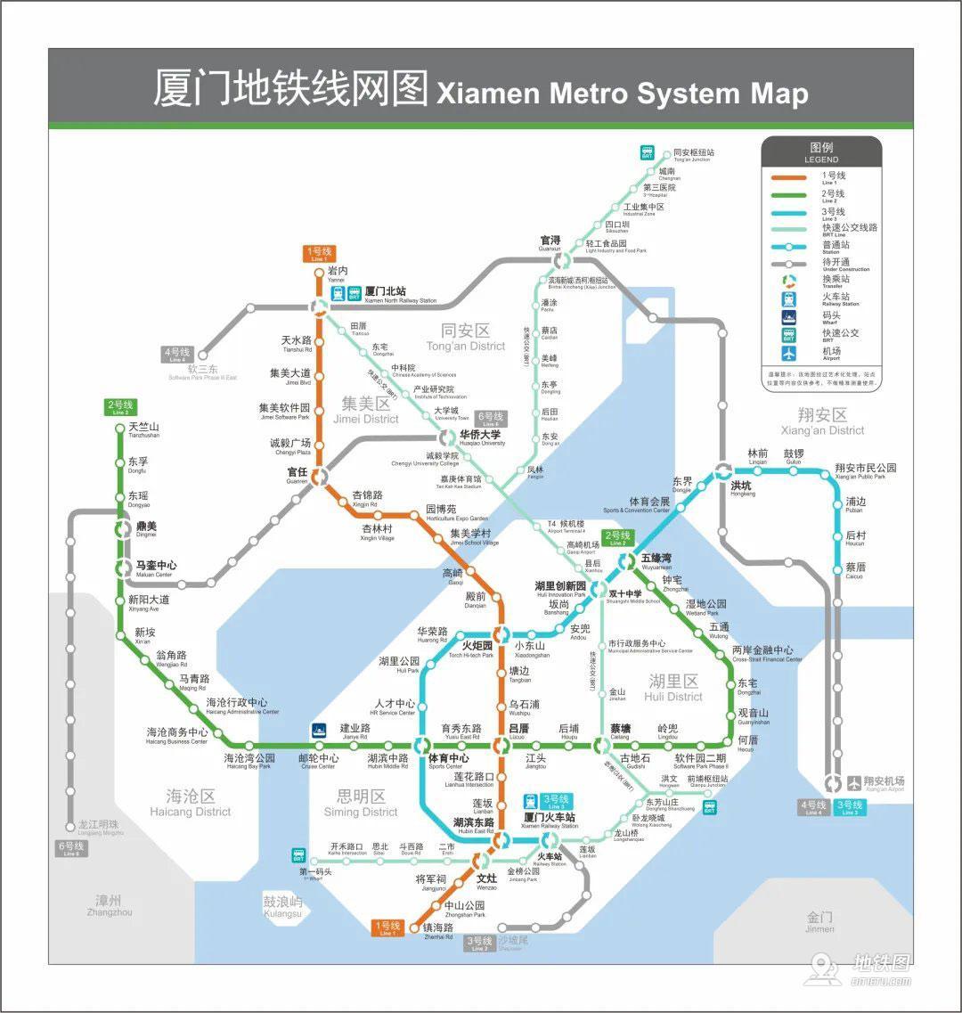 厦门地铁线路图_运营时间票价站点_查询下载